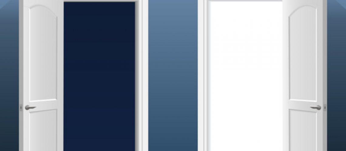 Two open doors into the light and dark blue in the interior of the room. Vector graphics